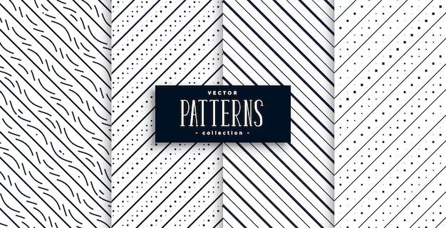 Motifs classiques de lignes diagonales abstraites ensemble de quatre