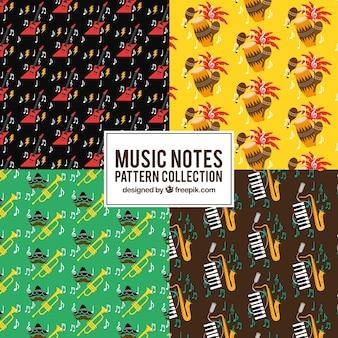 Motifs colorés ensemble d'instruments de musique