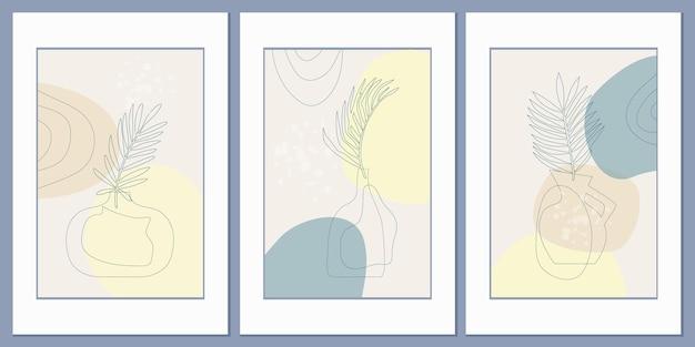 Motifs avec une composition abstraite de formes simples et de feuilles de palmiers tropicaux dans un vase