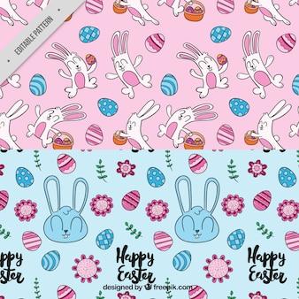 Motifs décoratifs avec des lapins mignons et des oeufs pour le jour de pâques