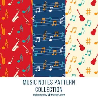 Motifs décoratifs avec des notes et des instruments de musique