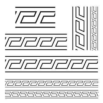Motifs égyptiens typiques assyriens et grecs vecteur frontières symboles ensemble clé grecque