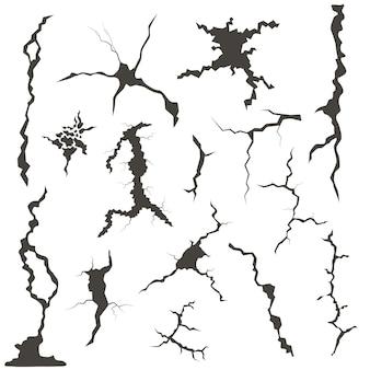 Motifs de fissures réalistes pour mur, verre ou sol. icônes de crevasse. illustration vectorielle