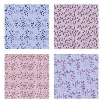 Motifs de fleurs, feuilles et feuillages