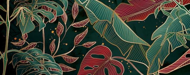 Motifs floraux aux couleurs métalliques rouges et or sur les arrière-plans pour la décoration intérieure et les bannières.