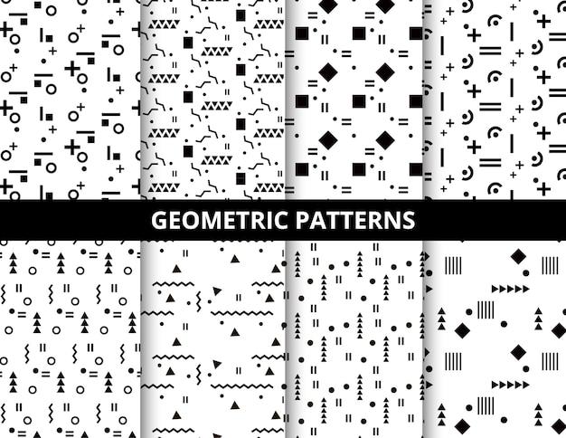 Motifs géométriques blancs et noirs