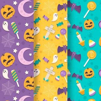 Motifs d'halloween au design plat