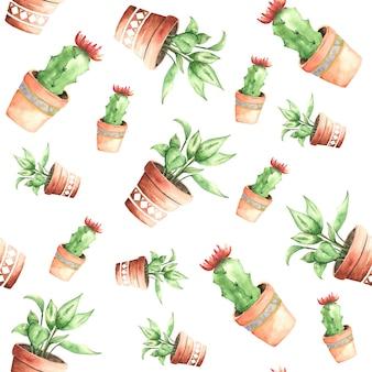 Motifs de jardin de plantes aquarelles en pots