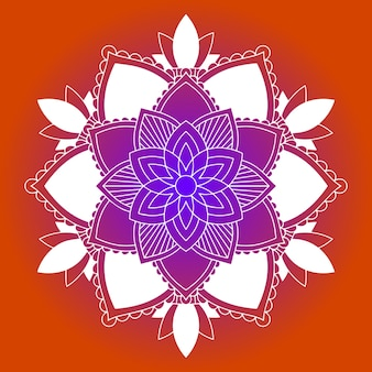 Motifs de mandala sur fond orange