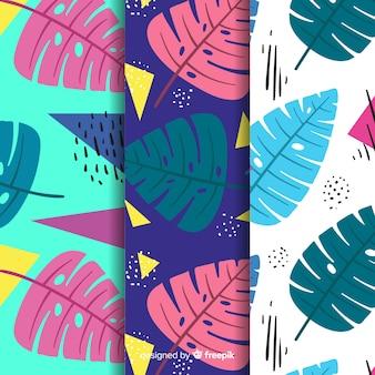 Motifs monstera colorés