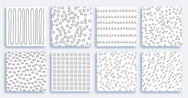 Les motifs en noir et blanc sont réalisés avec des pinceaux ornements rayés ronds et pointillés