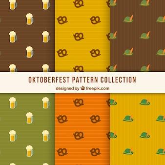 Motifs d'oktoberfest avec bière, bretzel et chapeau