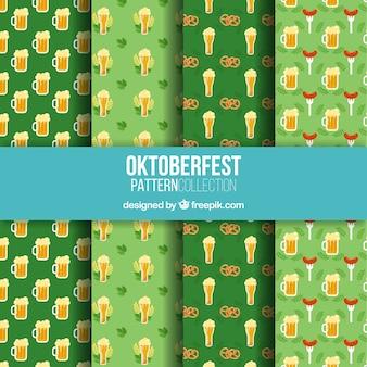 Motifs d'oktoberfest avec de la bière, des bretzels et des saucisses