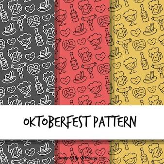 Motifs d'oktoberfest avec style dessiné à la main