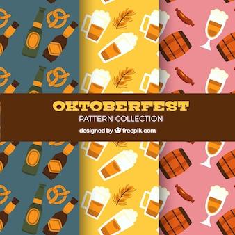 Motifs d'oktoberfest avec variété de bière