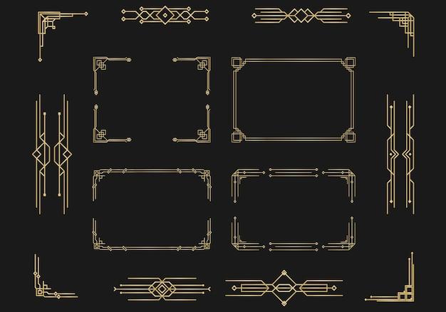 Motifs ornements dans les diviseurs de page de calligraphie de style art déco design vintage décor élégant floral