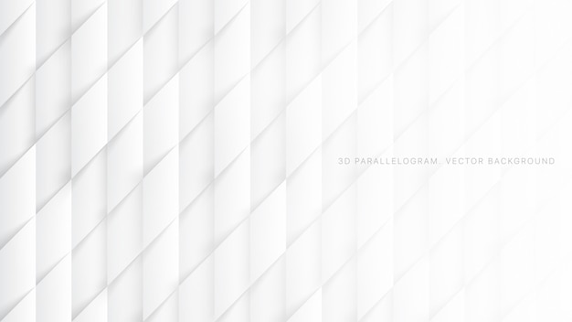 Motifs de parallélogrammes 3d, motif abstrait blanc