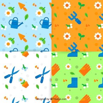 Motifs printaniers colorés dans un desig plat