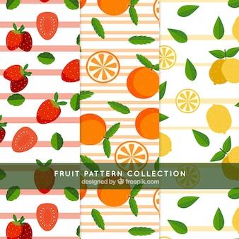 Des motifs rayés avec des fruits délicieux