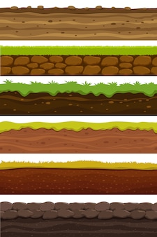 Motifs sans couture de dessin animé. grand terrain paysager. terre et sol pour la collection de jeux de l'interface utilisateur