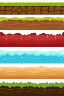 Motifs sans soudure. sols, niveaux d'eau et de terre avec de l'herbe, désert de sable. ensemble de textures sans fin de dessin animé