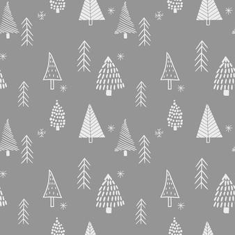 Motifs de style scandinave sans couture à partir d'arbres de noël stylisés dessinés à la main