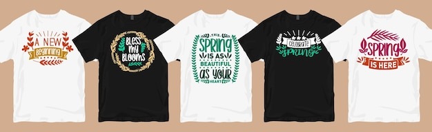 Motifs de t-shirt de printemps lettrage