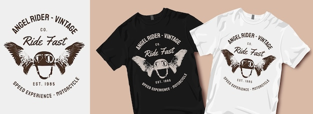 Motifs de t-shirts de moto angel rider