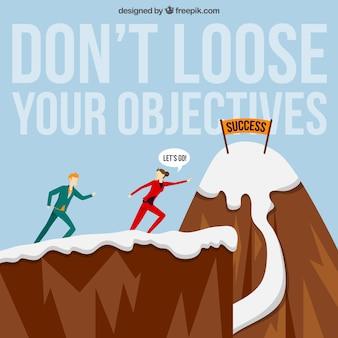Motivation phrase fond avec les gens d'affaires pour atteindre l'objectif