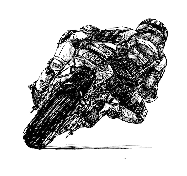 Moto de course dessinée à la main