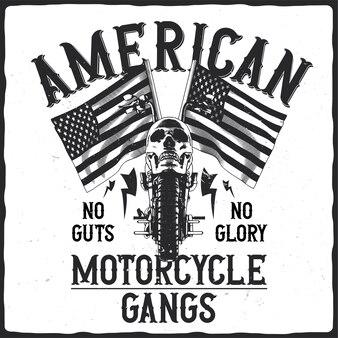 Moto avec crâne et drapeaux américains