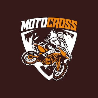 Moto cross logo vecteur