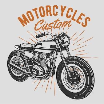 Moto dessinée à la main vintage avec effet grunge et fond d'éclat d'étoile