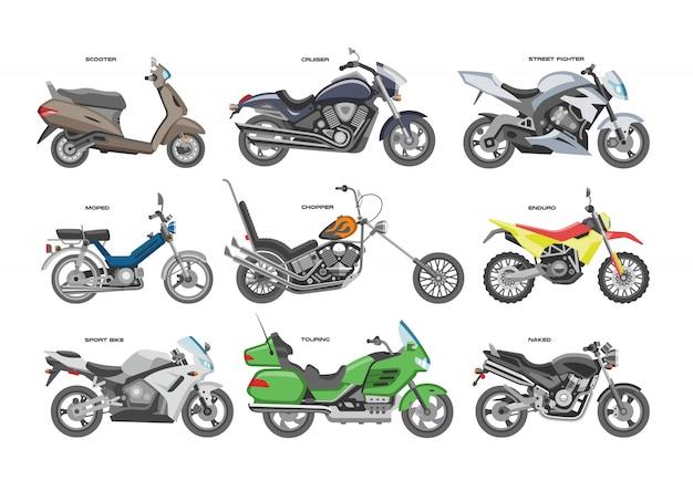 Moto moto ou chopper et cycle de transport à vélo illustration de transport moto ensemble de moto scooter sur fond blanc