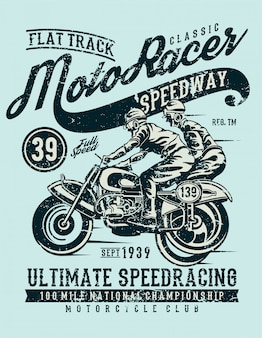 Moto racer classic, design vintage illustration