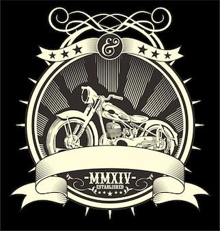 Moto vintage. dessin de main de vecteur
