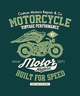 Moto vintage dessinée à la main. illustration de la composition.