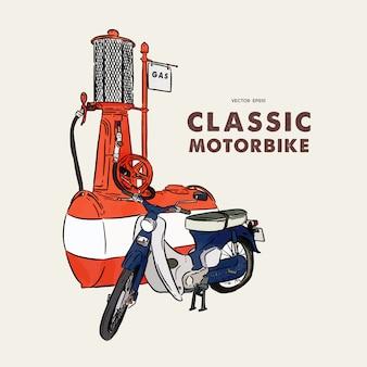 Moto vintage. main dessiner des croquis vectoriels.