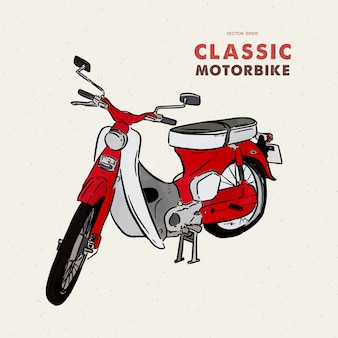 Moto vintage. main dessiner esquisse.