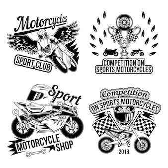 Motoclub sertie d'images monochromes isolées de pièces de moto roues accessoires motards et drapeau de course de finition