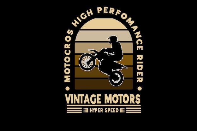 Motocross rider haute performance moteurs vintage couleur marron dégradé
