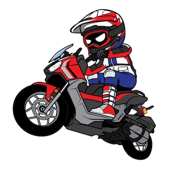 Motocross rider motorcycle jump cartoon