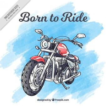 Motocyclette fond peint à la main