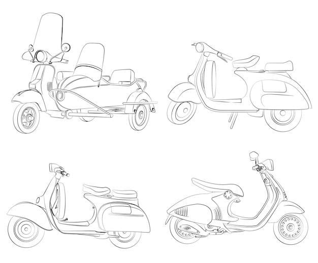 Motos contour coloriage de dessin animé pour les enfants