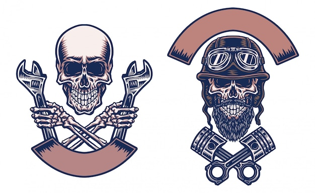 Motos de crânes, ligne dessinée à la main avec couleur numérique, illustration