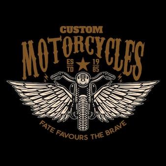 Motos personnalisées. moto ailée sur fond noir.