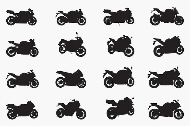 Motos, silhouettes noires, motos