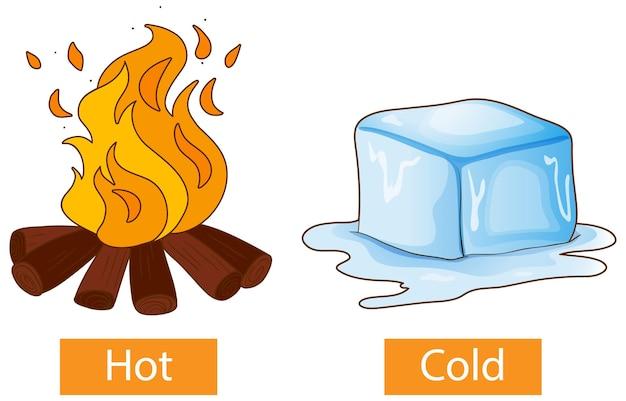 Mots d'adjectifs opposés avec chaud et froid