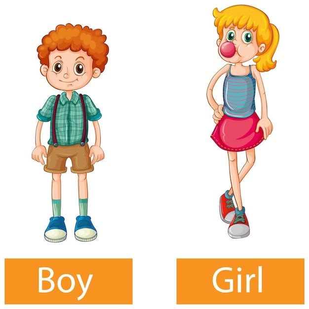 Mots adjectifs opposés avec garçon et fille sur fond blanc
