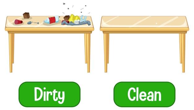 Mots d'adjectifs opposés avec sale et propre